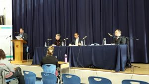 Maple Ridge - Mission candidates Mark Dalton, Liberal (seated left), Peter Tam, Green (seated centre) and Bob D'Eith (seated right) respond to questions from the moderator at an all-candidates' meeting hosted by the Chamber of Commerce on April 27, 2017. Photo: Andrea Lister.