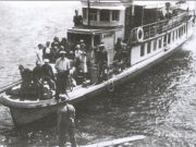 View of boat SS Scenic in 1939 approaching dock